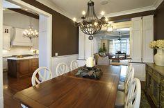 Traditional Dining Room, Shiplap Wainscot, Brown Walls