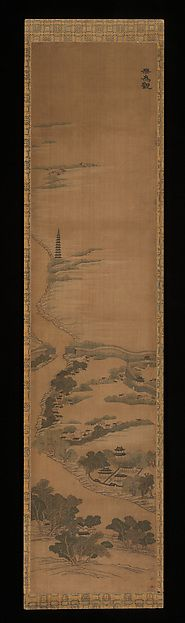 "Scenic Sites in the Qianlong Emperor's Southern Inspection Tour, 19th century. Qing dynasty (1644–1911). China. The Metropolitan Museum of Art, New York. Gift of John C. Ferguson, 1913 (13.220.136) | This work is featured in our ""Painting with Threads"" exhibition, on view through March 29, 2015 #AsianArt100"