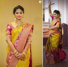 Jewels for Yellow saree or Nalangu Saree Saree Blouse Patterns, Sari Blouse Designs, Yellow Saree, Pink Saree, Engagement Saree, Indian Silk Sarees, Elegant Saree, Saree Look, South Indian Bride