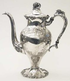 Silverplate Chocolate Pot in the Vintage-Chased (silverplate, Hollowware) pattern by International Silver