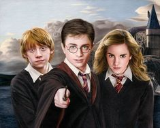 Colored pencil drawing of Harry Potter, Ron Weasley, and Hermione Granger by Heather Rooney Harry Potter Ron, Harry And Hermione, Hermione Granger, Immer Harry Potter, Harry Potter Sketch, Always Harry Potter, Harry Potter Drawings, Harry Potter Characters, Hrry Potter