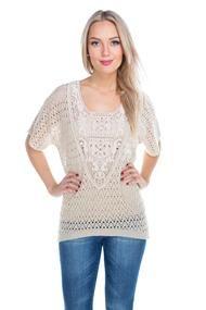 Crochet Insert Open Knit Sweater