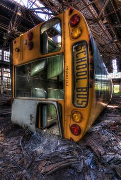 Tax payers may want to cuss at this overturned and graffiti-covered bus. However, there is something satisfying to the rebel soul to see the urbex image. Like these schools, this bus will never experience high school drama, laughing, or arguing kids again.