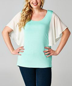 Love this Teal & White Cape Sleeve Top - Plus by Tua Plus on #zulily! #zulilyfinds