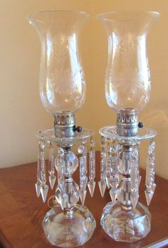 Vintage Hurricane Lamps Piano Lamps with by VintageGlassEscape