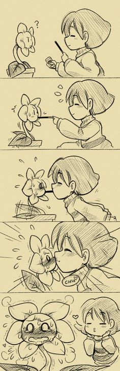 Flowey and Frisk play the pocky game Awwww so cute