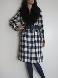 Vintage 1960s-1970s Black & White Checked Belted Coat - Fur Collar available to buy online at Virtual Vintage Clothing