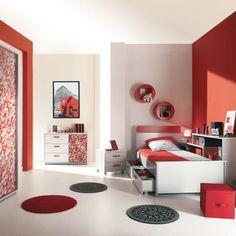 Chambre ado Gris Rouge Moderne | Déco Adolescent | Pinterest ...