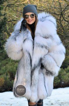 2017 ARCTIC FOX FUR COAT HOOD CLAS CHINCHILLA SABLE MINK LYNX SILVER LONG JACKET | eBay