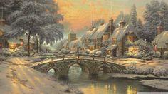 huisje en brug in de winter met sneeuw - Google zoeken