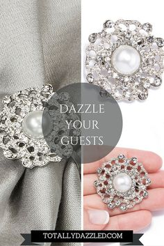 Dazzle your guests with these gorgeous pearl and rhinestone napkin rings! They are also available in gold and as a brooch. Just visit us online at totallydazzled.com to view our entire collection!
