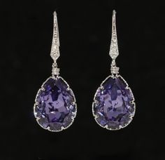 CZ Detailed Earring Hook with Swarovski Tanzanite (Purple)
