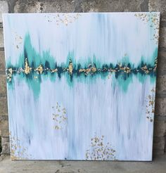 Abstract Painting : turquoise, white, gold (by Emily Cohea)