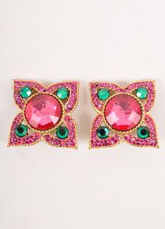 Gold, Pink, and Green Gemstone Earrings – Luxury Garage Sale