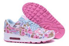 designer fashion c6fc4 1aeae Nike Air Max 90 Womens Shoes Pink Floral Puma Sneakers, Cheap Nike Air Max,