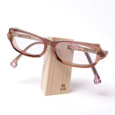 wooden eyeglass stand designed by Yuko Noguchi
