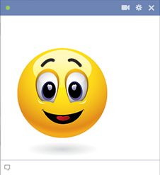This smiley face and all other chat emoticons on our website can be used on Facebook!