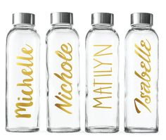 Items similar to Personalized Glass Water Bottle-Gold Foil- Bottles Personalized on Etsy Cute Water Bottles, Bpa Free Water Bottles, Steel Water Bottle, Glass Water Bottle, Glass Bottles, Gold Bottles, Custom Bottles, Custom Glass, Personalized Water Bottles