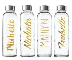 Custom Glass Water Bottle-Gold foil- 18oz Bottles Personalized