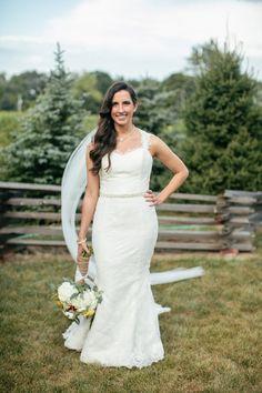 Gorgeous gown by Amy Kuschel Bride {Jennifer Van Elk Photography} Follow @weddingwire for more inspiration!