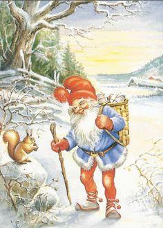 Lars Carlsson  Ja dat smaakt zeker wel die noot. Swedish Christmas, Scandinavian Christmas, Christmas Elf, Vintage Christmas Images, Christmas Pictures, Baumgarten, Christmas Paintings On Canvas, Elves And Fairies, Christmas Illustration