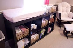 Nursery room is place with many baby stuffs. You need more storage to keep this room clean and neat. A changing table is must for baby stuffs storage. Complete it well with wire boxes, fabric boxes, or shelves will be great. Check out these ideas below; Baby Center, Everything Baby, Project Nursery, Baby Time, Nursery Room, Nursery Ideas, Room Ideas, Ikea Baby Nursery, Girl Nursery