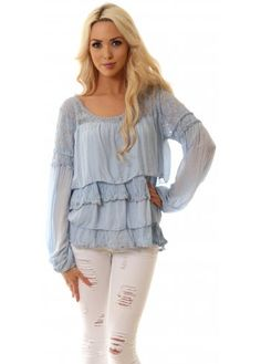 Monton Blue Silk Lace & Frills Boho Blouse Top