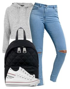 """""""Untitled #170"""" by trillest-fashion ❤ liked on Polyvore featuring Topshop, Bullhead Denim Co., Moschino and Converse"""