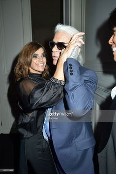 Carine Roitfeld and Karl Lagerfeld attend LE BAL hosted by MAC and Carine Roitfeld as part of Paris Fashion Week Spring / Summer 2013 at Hotel Salomon de Rothschild on October 2, 2012 in Paris, France.