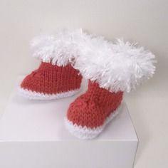 Bottes de père noël pour poupée,tricotées en laine