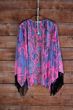 Paisley Print Kimono with Fringe