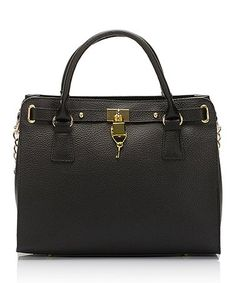 Love this Black Lock Rectangle Leather Satchel on #zulily! #zulilyfinds