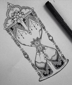 Tatuagem/Desenho Lindo Detalhista De Ampulheta