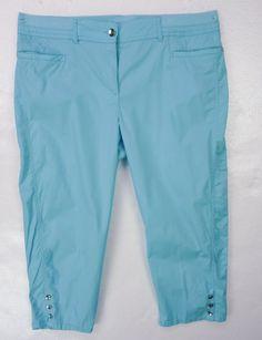 CHICOS Aqua Blue Cropped Capri Pants Sz 3 L/XL Cotton Spandex Stretch #Chicos #CaprisCropped