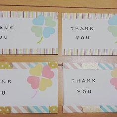メッセージカード♡上下はマスキングテープを何種類か貼って縁取っています。THANK YOUはスタンプです!ちょっとかすれてるスタンプ感がいいですね♩上が男性ゲスト、下が女子ゲストで少し色合いを変えています。 Diy And Crafts, Arts And Crafts, Craft Punches, Message Card, Give It To Me, How To Make, Washi Tape, Homemade Cards, Thank You Cards