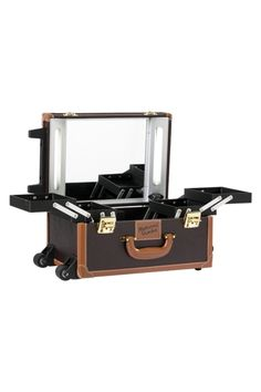 masami shouko brown leather makeup case with lights