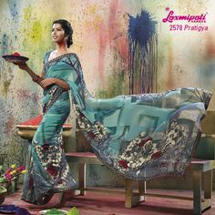 LP_2578 - MULTI COLORED WITH BEAUTIFUL ABSTRACT DESIGN ON GEORGETTE