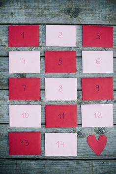Valentine's advent calendar with ideas of little things to do each day leading up to Valentine's Day
