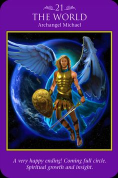 "Daily Angel Oracle Card, from the Archangel Power Tarot Card deck, but Doreen Virtue and Radleigh Valentine: Archangel Michael ~ The World Archangel Michael: ""A very happy ending! Doreen Virtue, Michael Angel, Archangel Michael, Archangel Gabriel, Archangel Prayers, Angel Readings, Happy End, Angel Guidance, Angels Among Us"