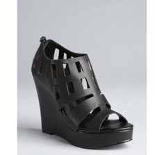 Matiko black leather cutout platform Cavala wedges