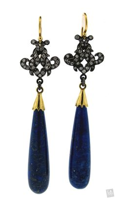 Victorian Drop Earrings with Lapis & Diamond - Arman