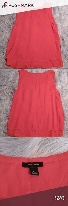"Ann Taylor V Neck Tank Ann Taylor V Neck Tank Chiffon Material Size XL 24"" Bust Orange with a bit of pink Ann Taylor Tops Blouses"