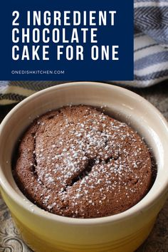 This two ingredient chocolate cake recipe is truly amazing! Just an egg and melted chocolate are the only ingredients you need to make this decadent gluten free treat. This single serving flourless chocolate cake will satisfy your most intense chocolate craving and it's so easy to make too!