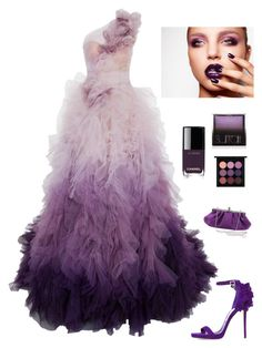 """""""Red Carpet Beauty"""" by kotnourka ❤ liked on Polyvore featuring Marchesa, Jimmy Choo, Surratt, Chanel and MAC Cosmetics"""