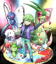 Drew with Butterfree, Absol, Roselia, Masquerain, and Flygon