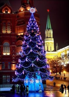 Russia also celebrates Christmas. Here is a tree that has been brightly decorated in the Russian Town Square.