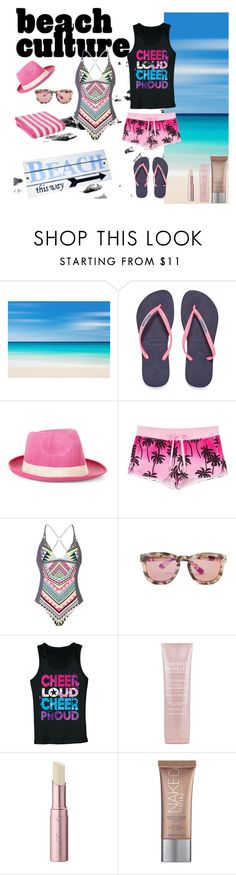 """Beach Culture"" by lifestylestories ❤ liked on Polyvore featuring Havaianas, BCBGMAXAZRIA, Juicy Couture, adidas, Wildfox, SkinCare, Too Faced Cosmetics and Urban Decay"