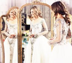 Who designed the wedding gown character Kate Beckett of the Castle tv show tries-on in the 2/3/2014 episode? Beautiful, and my favorite cut!