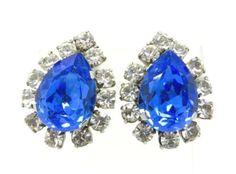 Vintage Royal Blue Rhinestone Earrings Blue by LeesVintageJewels