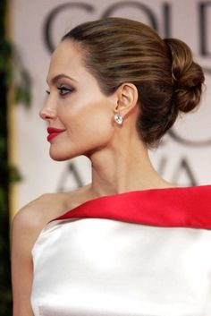Angelina  Jolie in a simple chignon